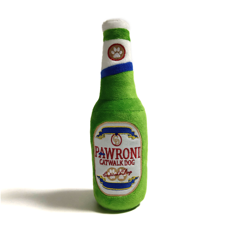 CatwalkDog Pawroni Beer Bottle Plush Dog Toy
