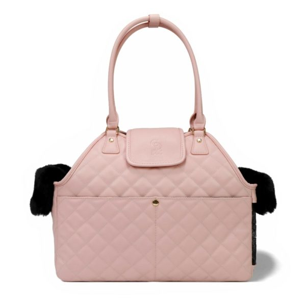 Paris Quilted Pet Carrier in Pink